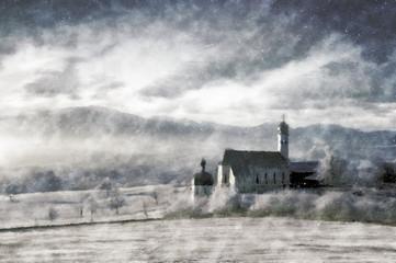 Winter landscape vintage painting