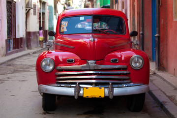 Garden Poster Cars from Cuba Vintage red car on the street of old city, Havana, Cuba