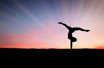 Wall Mural - sunset handstand