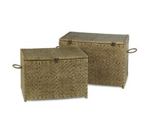 Nice handmade square rattan box isolated on white