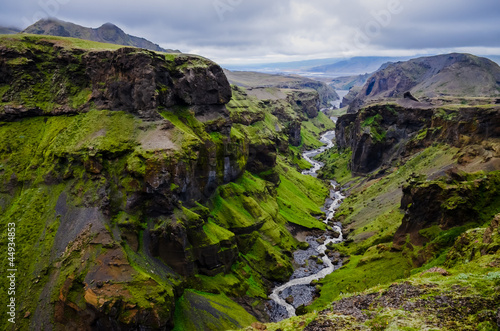 Fototapete Thorsmork mountains canyon and river, near Skogar, Iceland