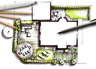 Gartenplanung - handgezeichneter Entwurf eines formalen Gartens