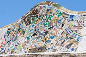 Mosaic pattern, terrace bench Parc Guell, Barcelona, Spain