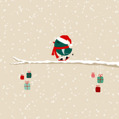 Dark Green Bird Skiing On Tree With Gifts