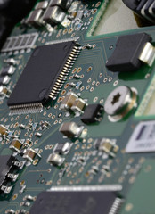 Computer chip on a main board circuit board