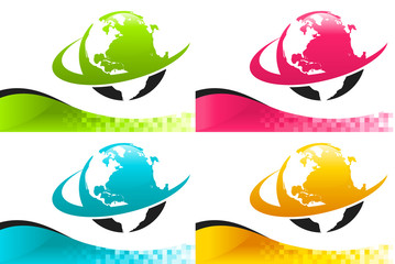 Colorful Banners with Swoosh Earth Icons