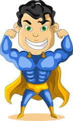 Poster Superheroes strong blue super hero