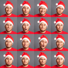 Young Man with Santa Hat Collection of Expressions