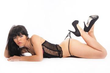 sexy brunette on the floor