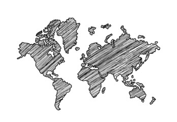 Self adhesive Wall Murals World Map drawing map