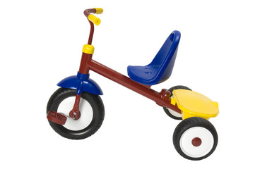Tricycle on a white background. Clipping path included.