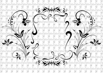 Illustration of abstract black floral ornament with background