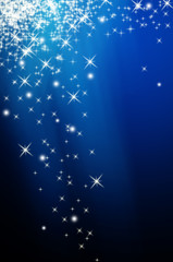 Snow and star on blue background