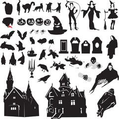 set of silhouettes symbolizing Halloween
