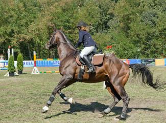 A girl riding a horse.