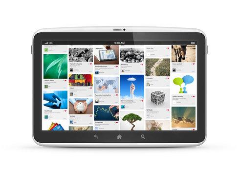 Digital tablet with social media application interface