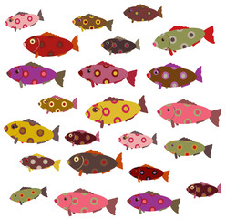 set of decorative fish