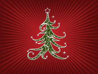 Christmas tree on a red stripes background