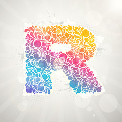 Colorful pattern alphabet. Letter R