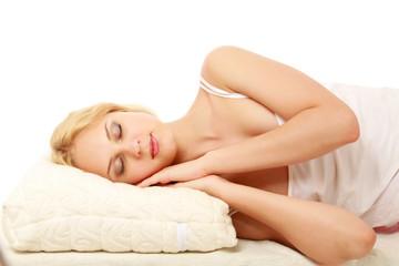 Portrait of young beautiful sleeping woman.