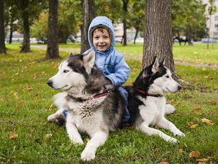 husky with child