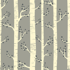 Door stickers Birds in the forest Birch Trees Background