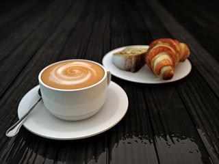 cappucino and croissant