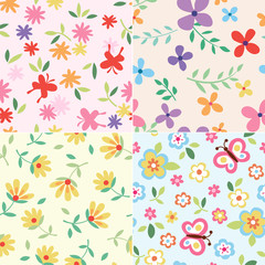 seamless floral butterfly print
