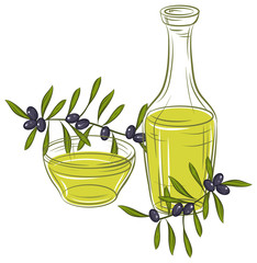 Vector illustration with black olives and bottle of oil.