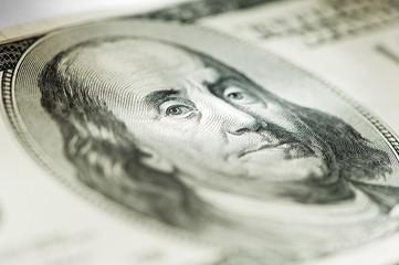 Portrait of Benjamin Franklin on the hundred dollar bill