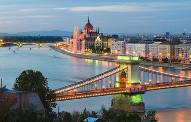 Printed kitchen splashbacks Budapest Chain Bridge & Hungarian Parliament