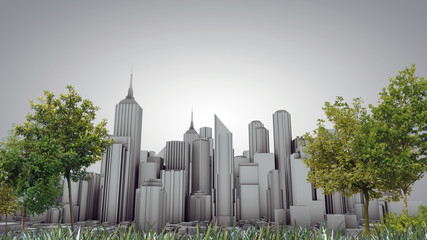 city skyline in old postcard