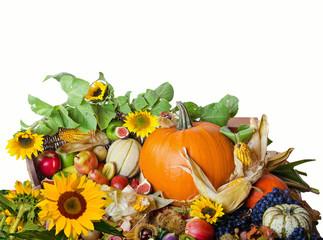 Herbst:  Arrangement aus Früchten und Sonnenblumen