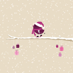Purple Bird Skiing On Tree With Gifts