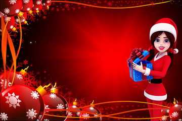 santa girl with blue gift box on red background