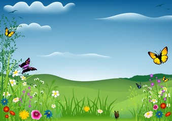 Tuinposter Vlinders Spring Landscape with Butterflies