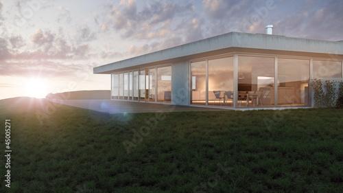 Modernes flachdach haus in hanglage 3d stockfotos und for Modernes haus 3d