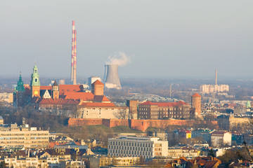 Cracow, aerial view of historic royal Wawel Castle