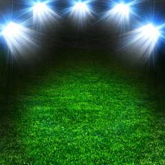 Soccer green field with light
