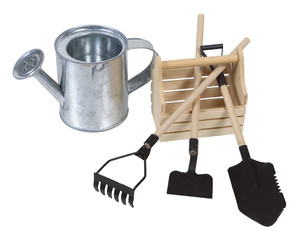 Watering Can and Wooden Box with Tools