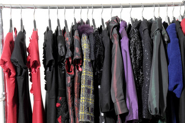 Close up fashion autumn/winter clothes rack