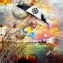 Printed kitchen splashbacks Imagination Fairy umbrella