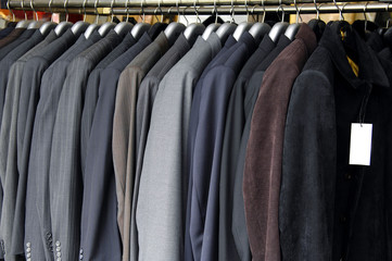 man suits on the rack,
