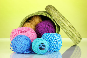 Colorful yarn for knitting in green basket on green background