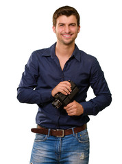 Young Man Holding Old Camera