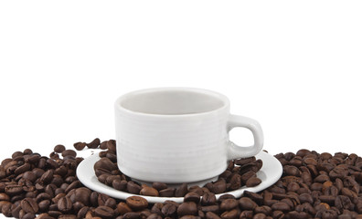 Coffee beans and cup of coffee