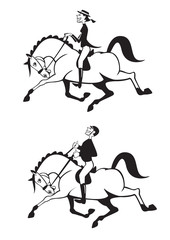 dressage riders black and white