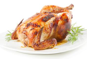 roast chicken isolated on white background