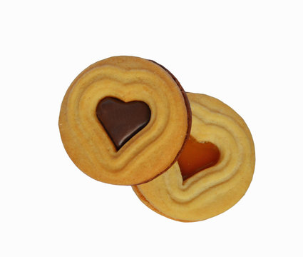 biscuits filled with chocolate and jam in  heart shape