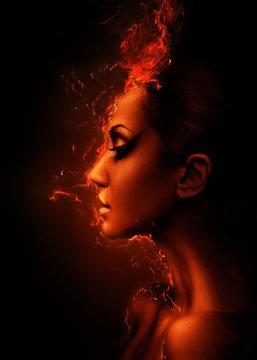 the burning woman head profile